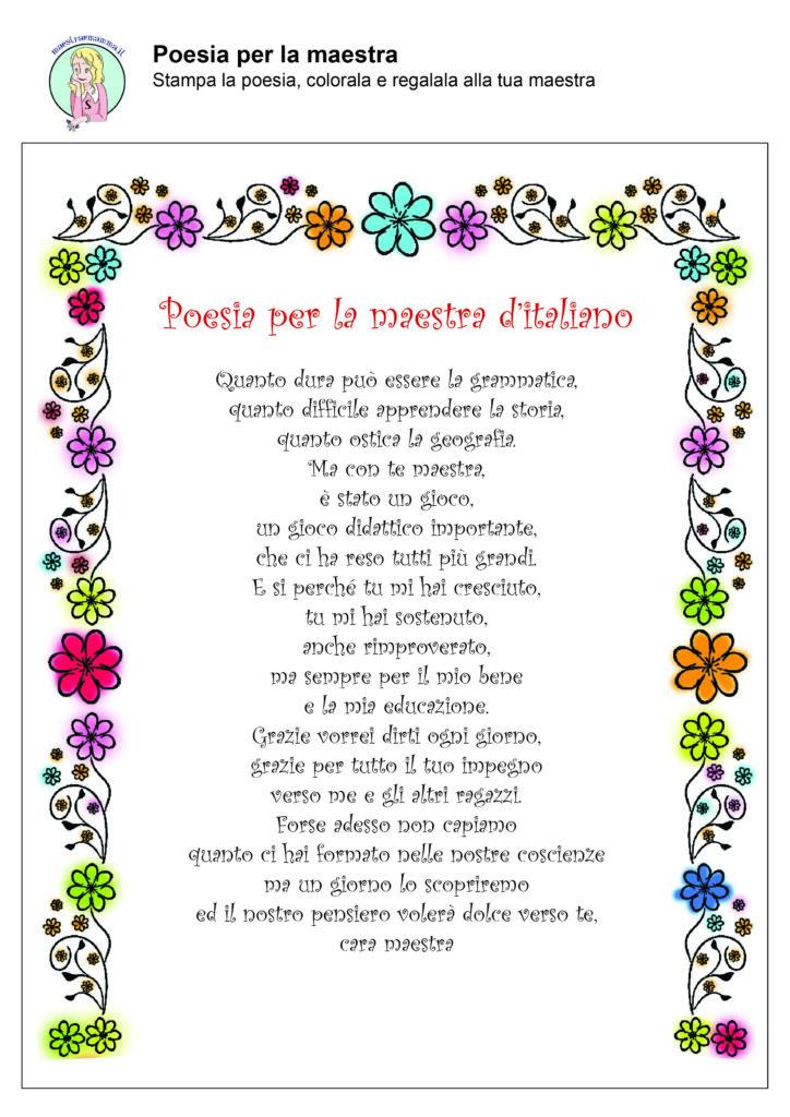 Fine anno scolastico poesie per la maestra ITALIANO
