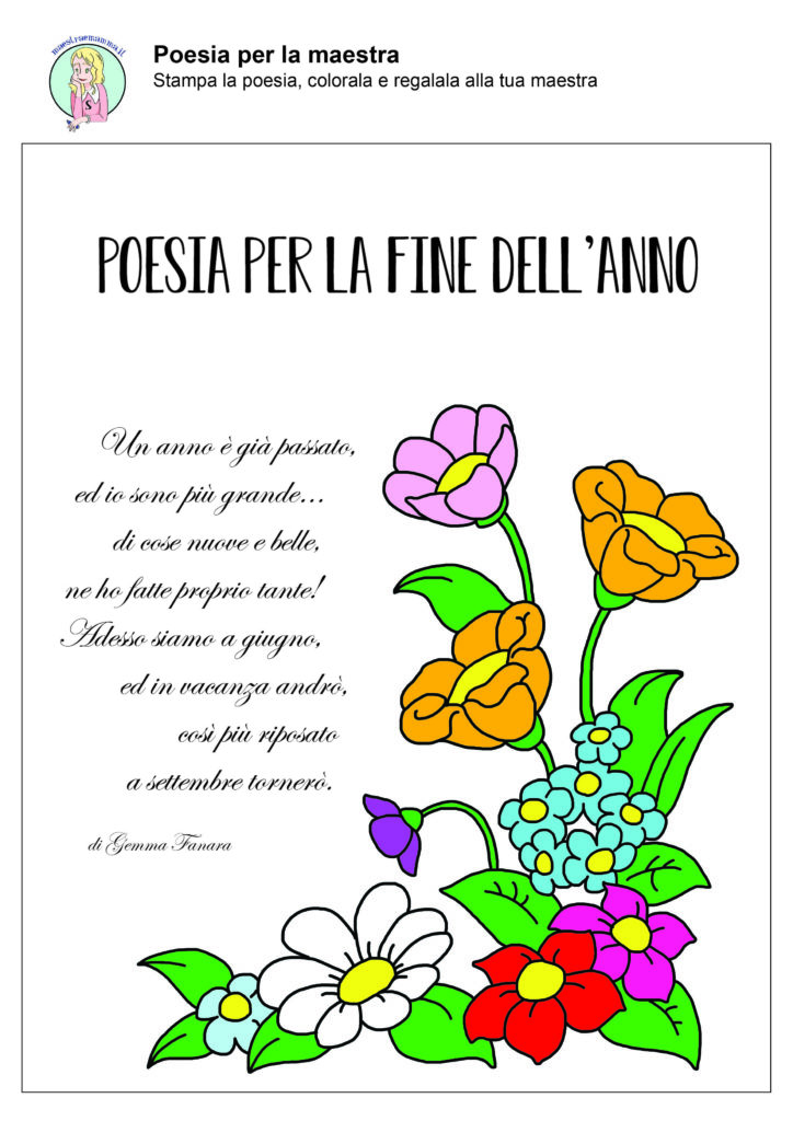Fine anno scolastico poesie per la maestra