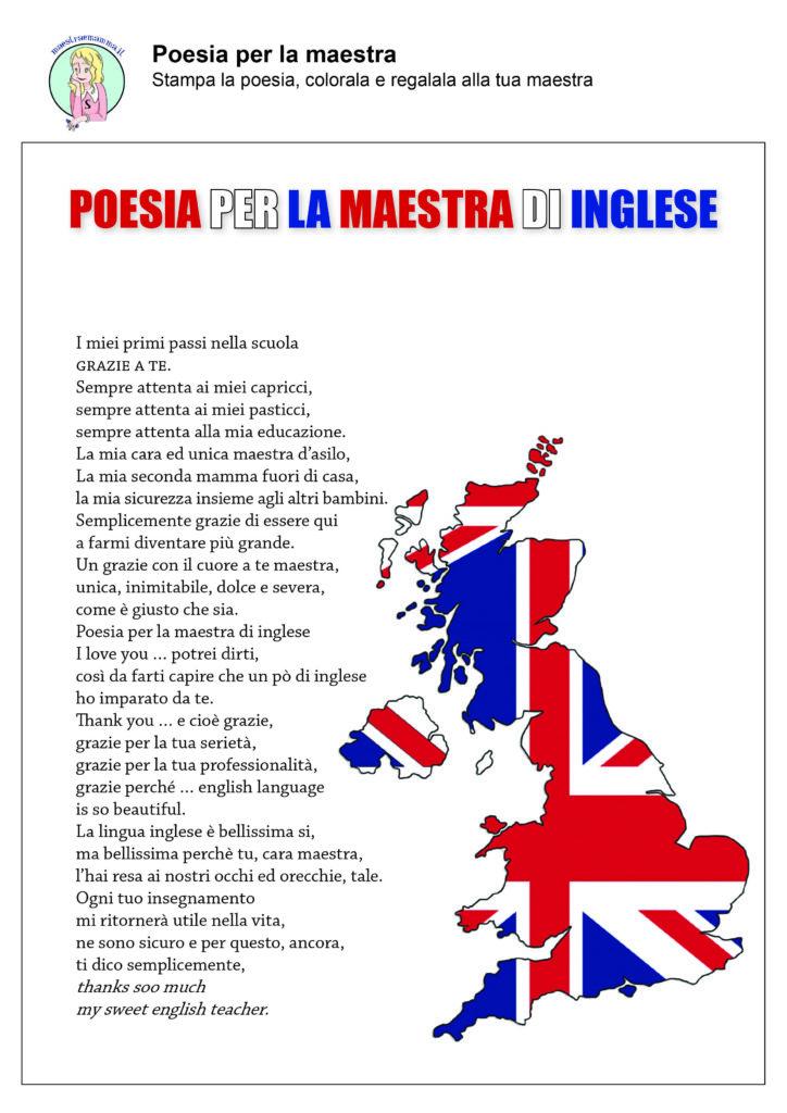 Fine anno scolastico poesie per la maestra inglese