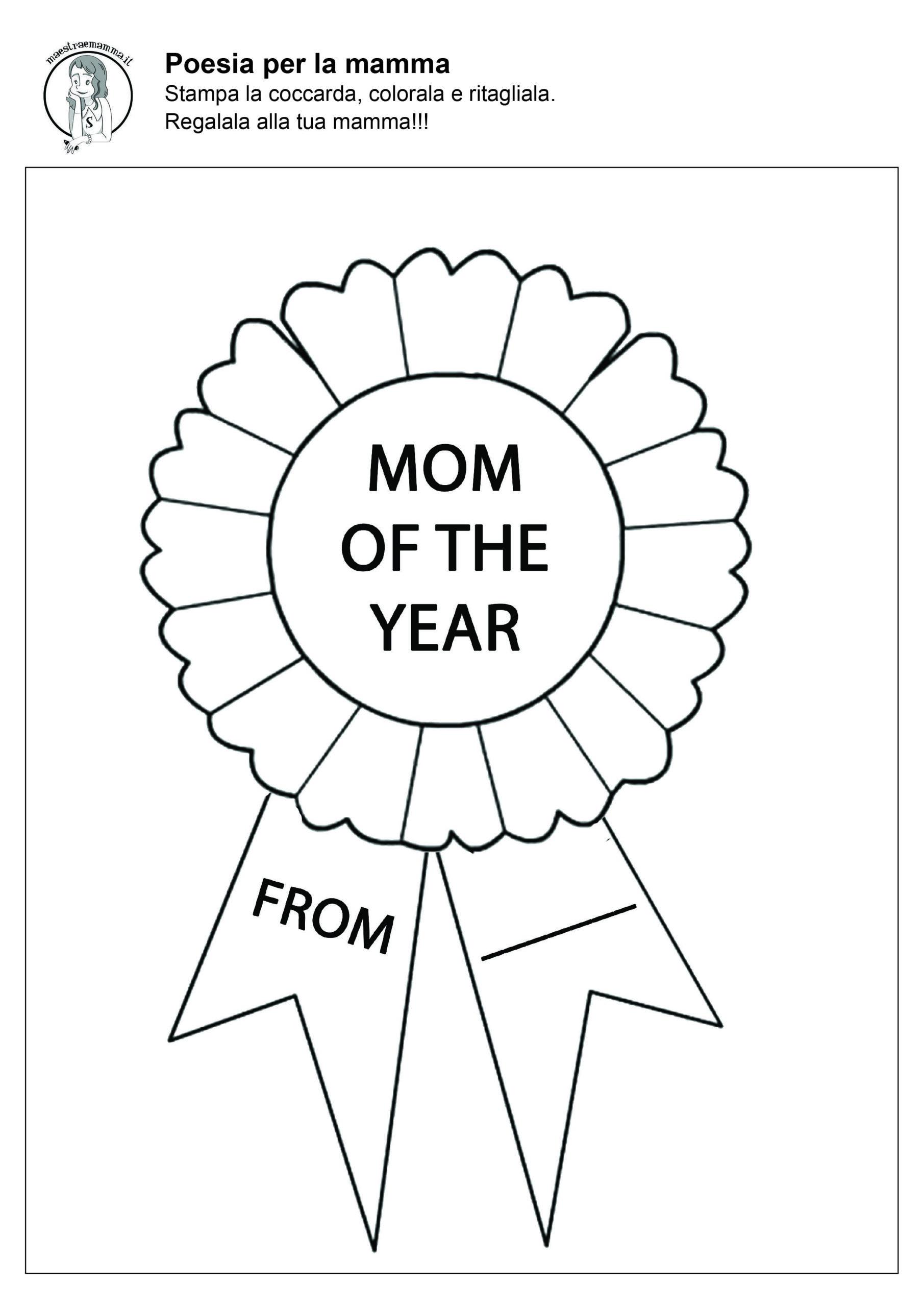 coccarda festa della mamma in bianco e nero in inglese