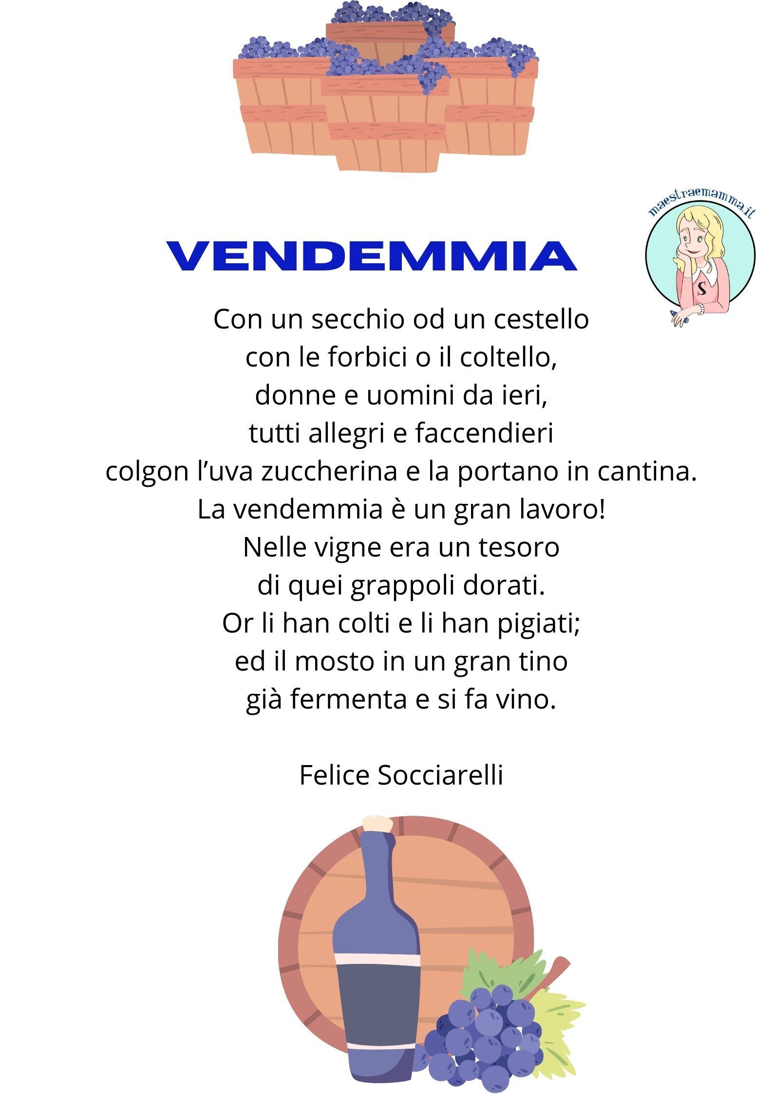 vendemmia Felice Socciarelli poesie e filastrocche sulla vendemmia vino per bambini