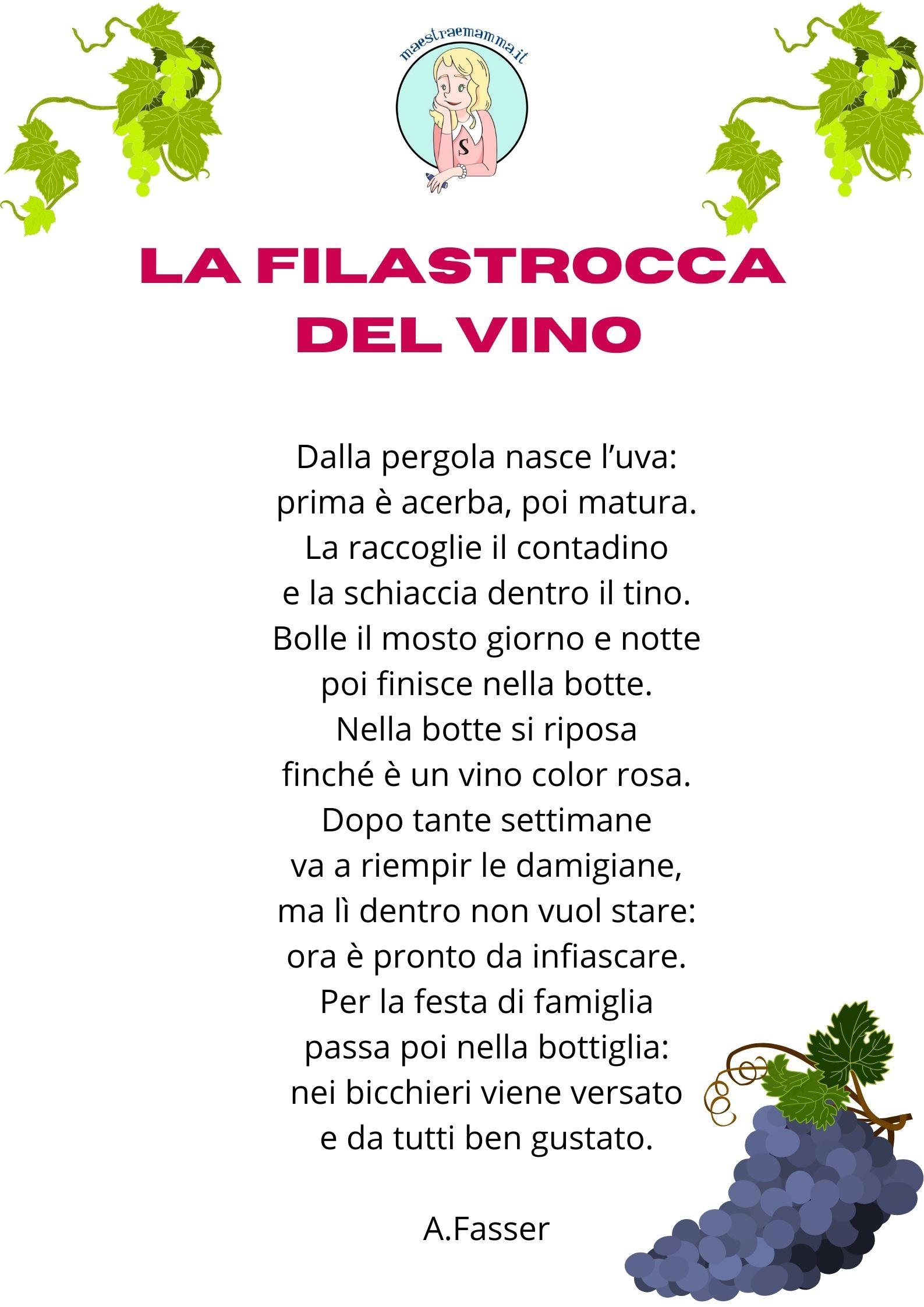 fasser la filastrocca del vino Poesie e filastrocche sulla vendemmia per bambini