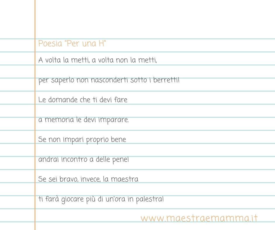 Poesia Per Una H Poesia Verbo Avere Maestra E Mamma