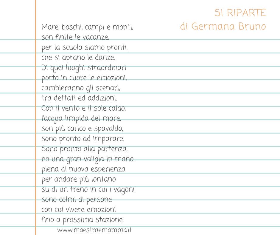 si riparte germana bruno poesia accoglienza per i primi giorni di scuola