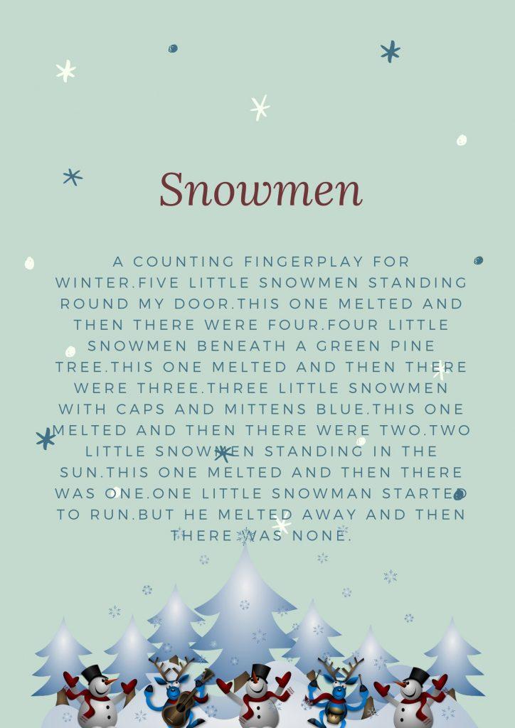 poesia inverno pupazzo neve in inglese per bambini