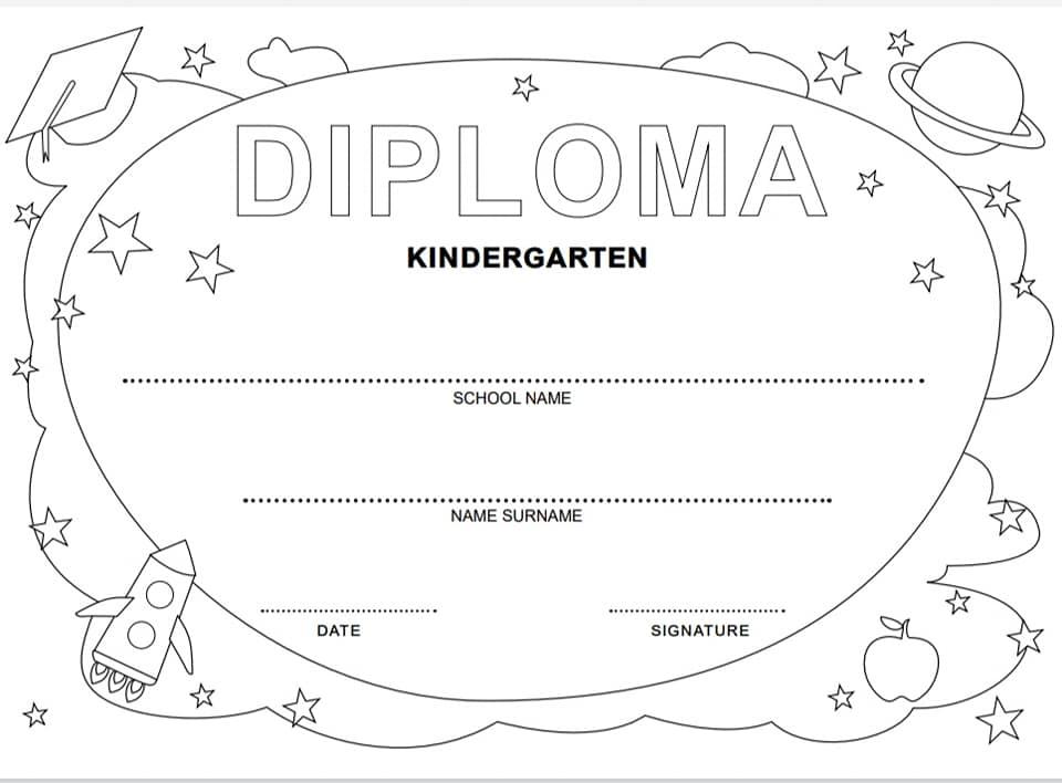 diploma fine anno scuola infanzia in inglese in bianco e nero