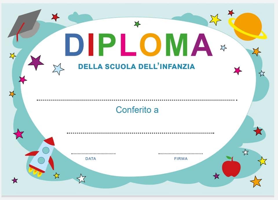diploma fine anno scuola infanzia in italiano a colori