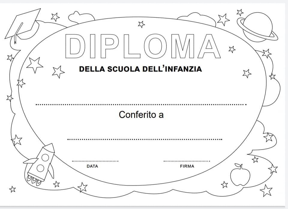 diploma fine anno scuola infanzia in italiano in bianco e nero