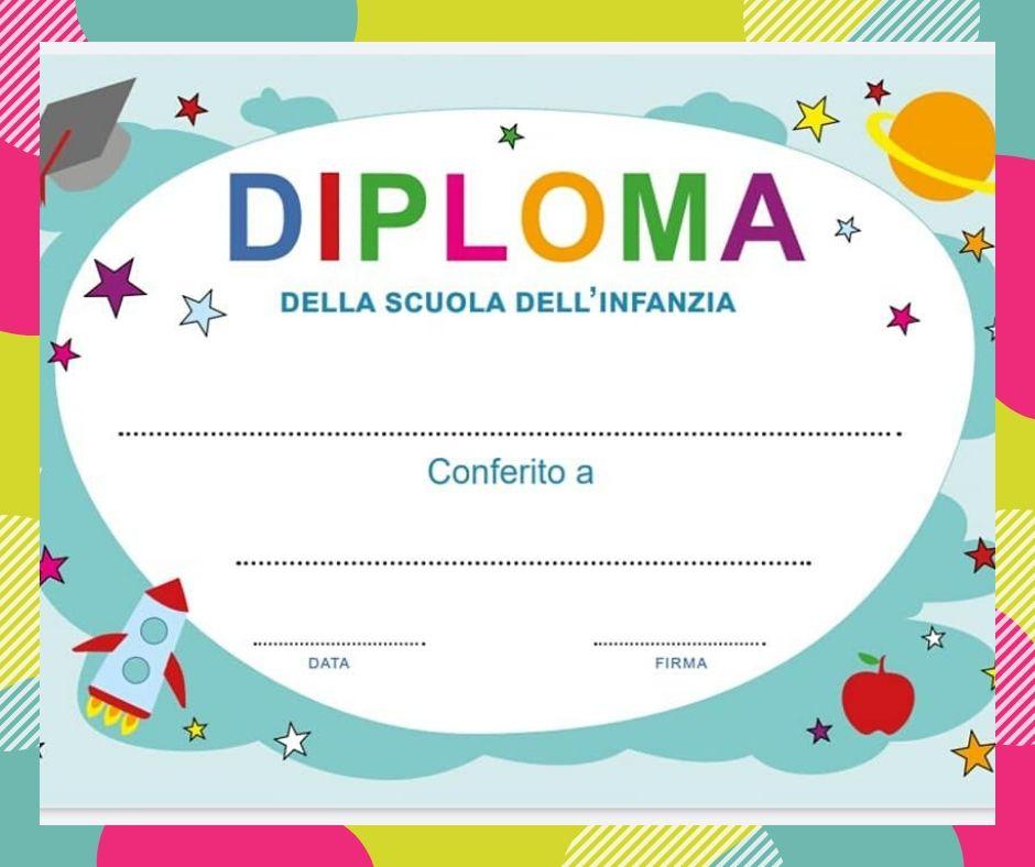 Diploma da stampare per la fine dell'anno scolastico
