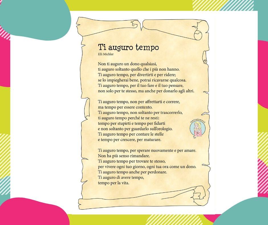 """""""Ti auguro tempo"""" : pergamena di saluto da parte delle maestre"""
