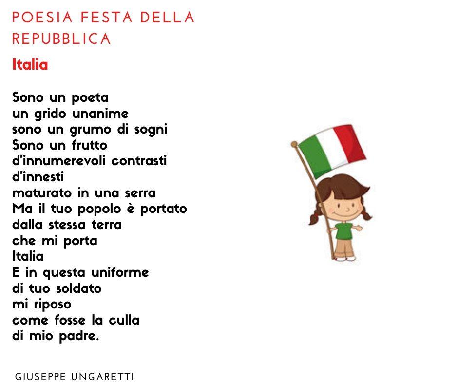 poesia festa dell'unità d'italia 2 giugno