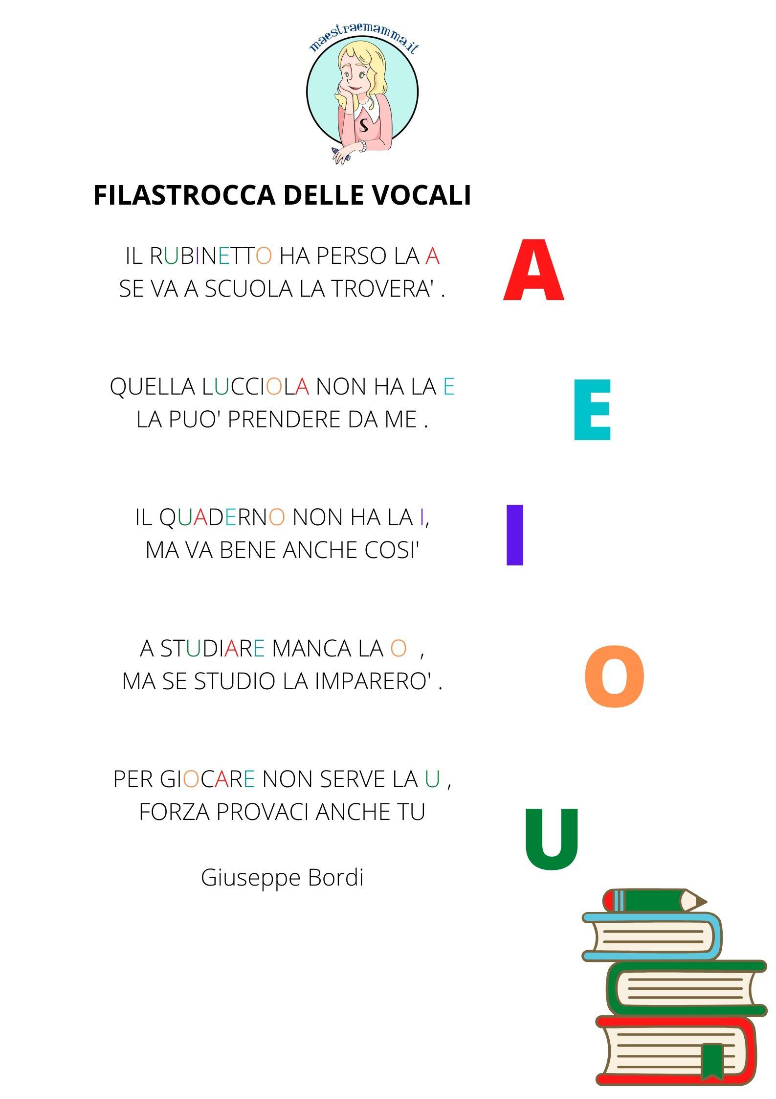 impara le vocali con una filastrocca delle vocali di giuseppe bordi
