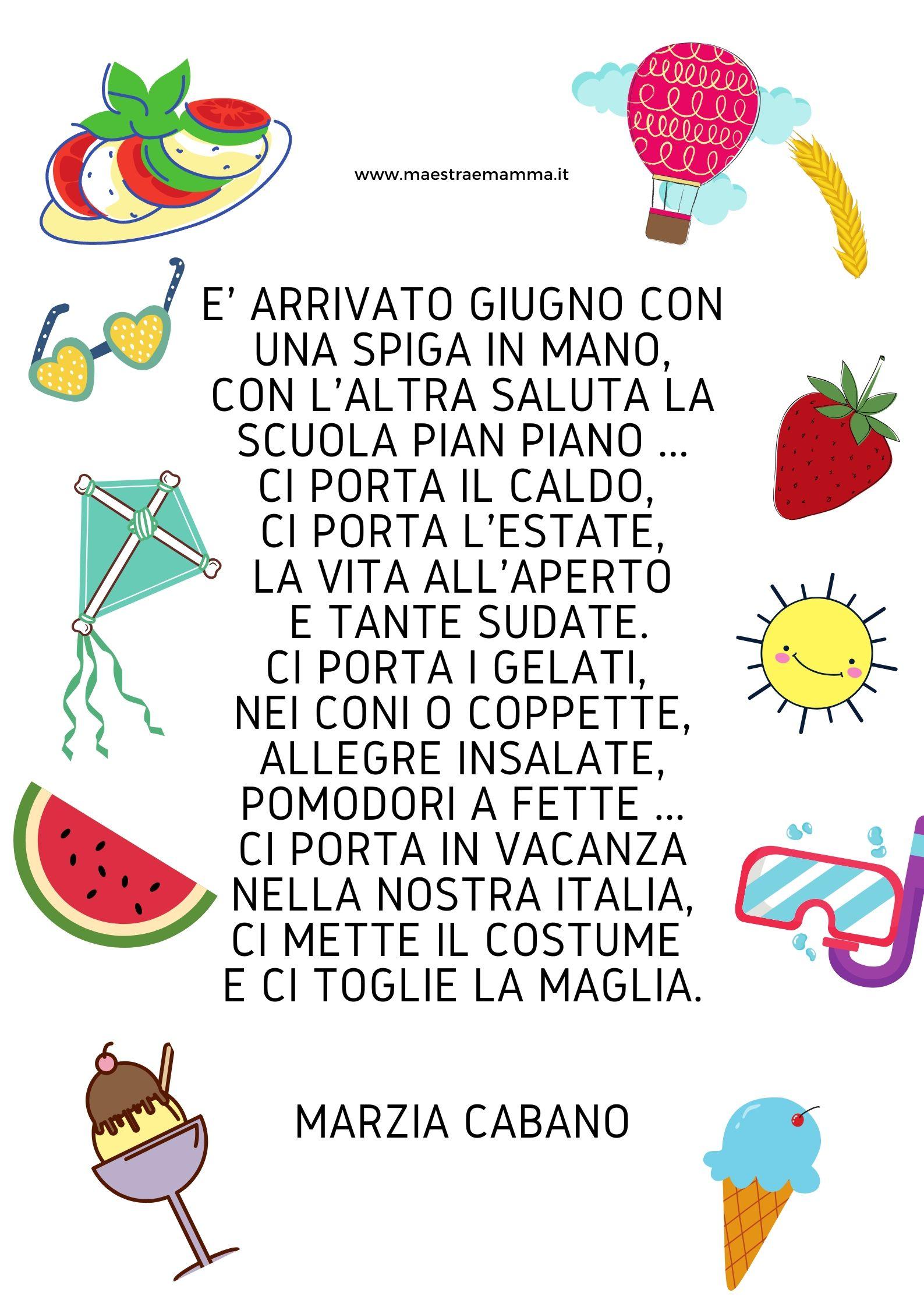 poesia giugno filastrocca per bambini di Marzia Cabano