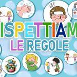 Covid coronavirus cartellone con le regole che i bambini dovranno seguire da settembre