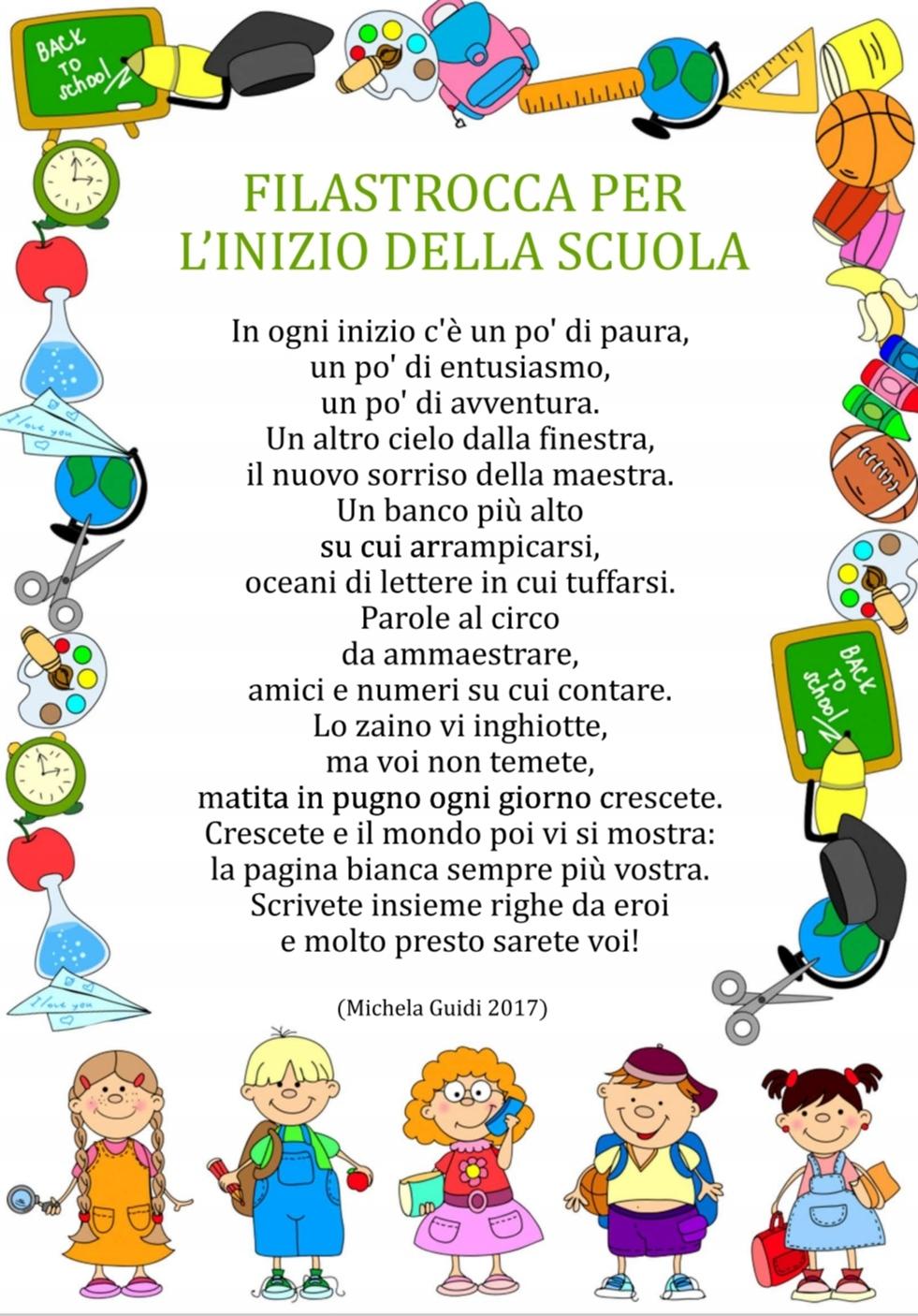 poesia inizio scuola filastrocca di michel aguidi l-inizio della scuola