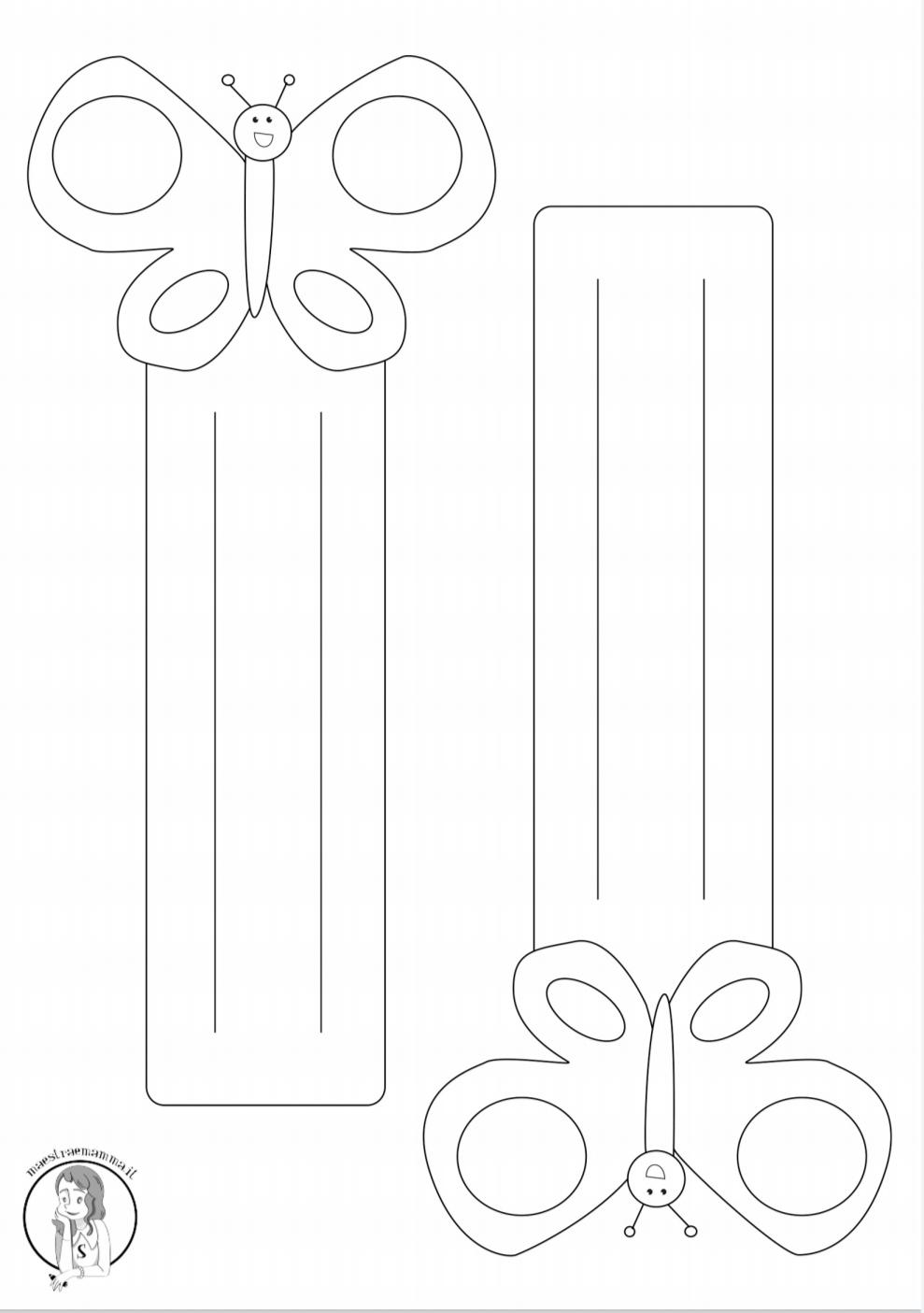 segnalibro a forma di farfalla in bianco e nero per la scuola accoglienza maestraemamma
