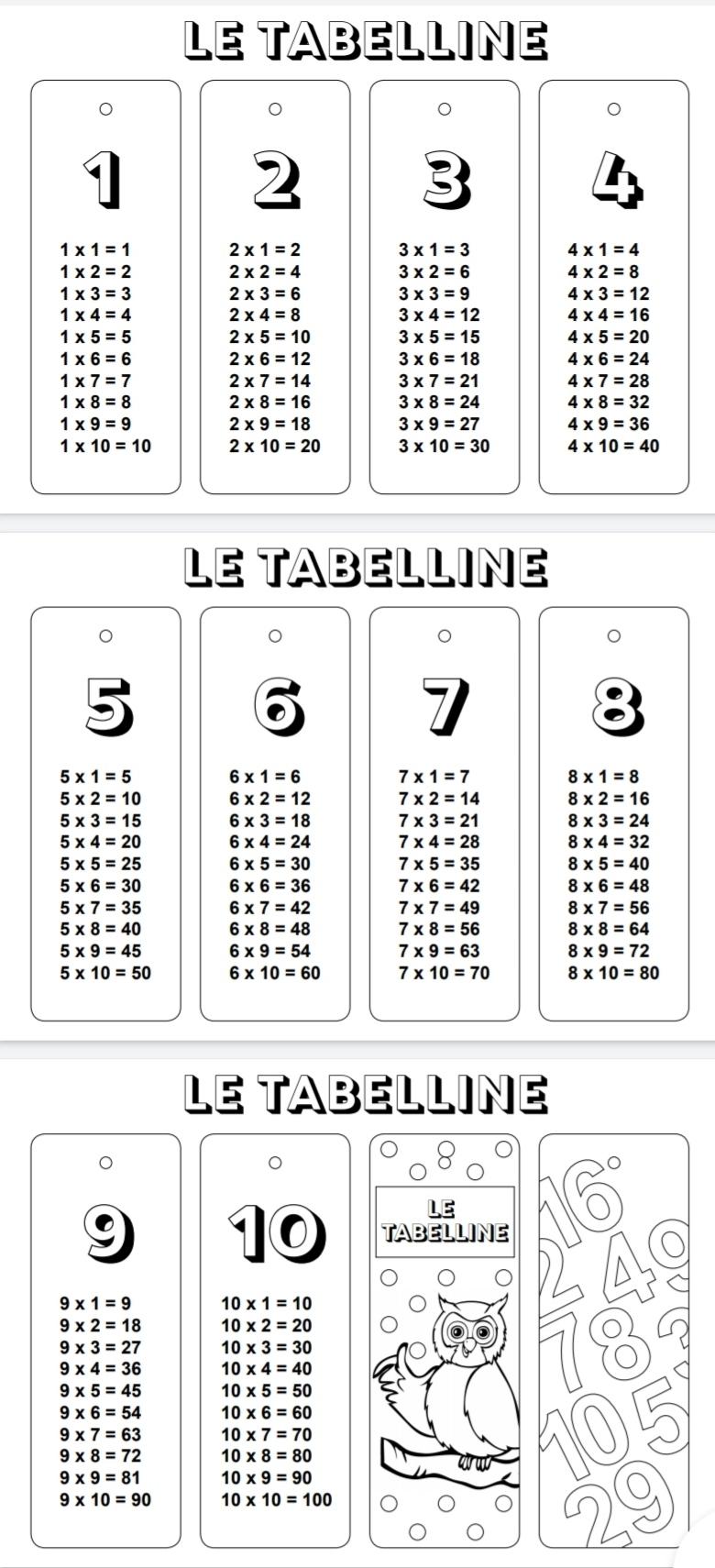 ventaglio delle tabelline da stampare strumenti compensativi maestraemamma