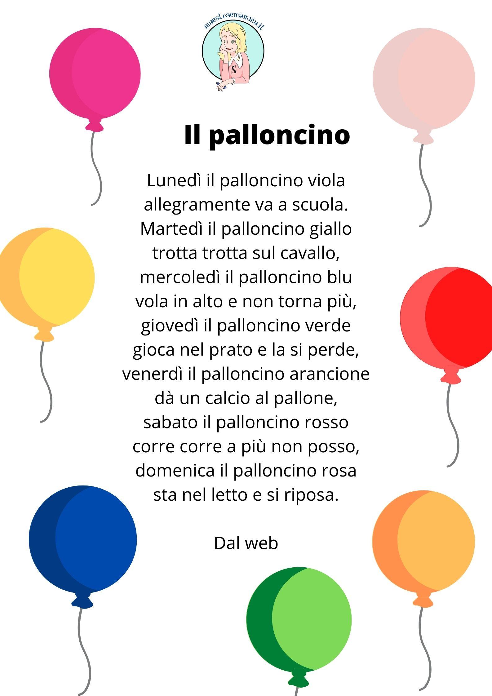 il palloncino poesia filastrocca giorni della settimana e colori scuola