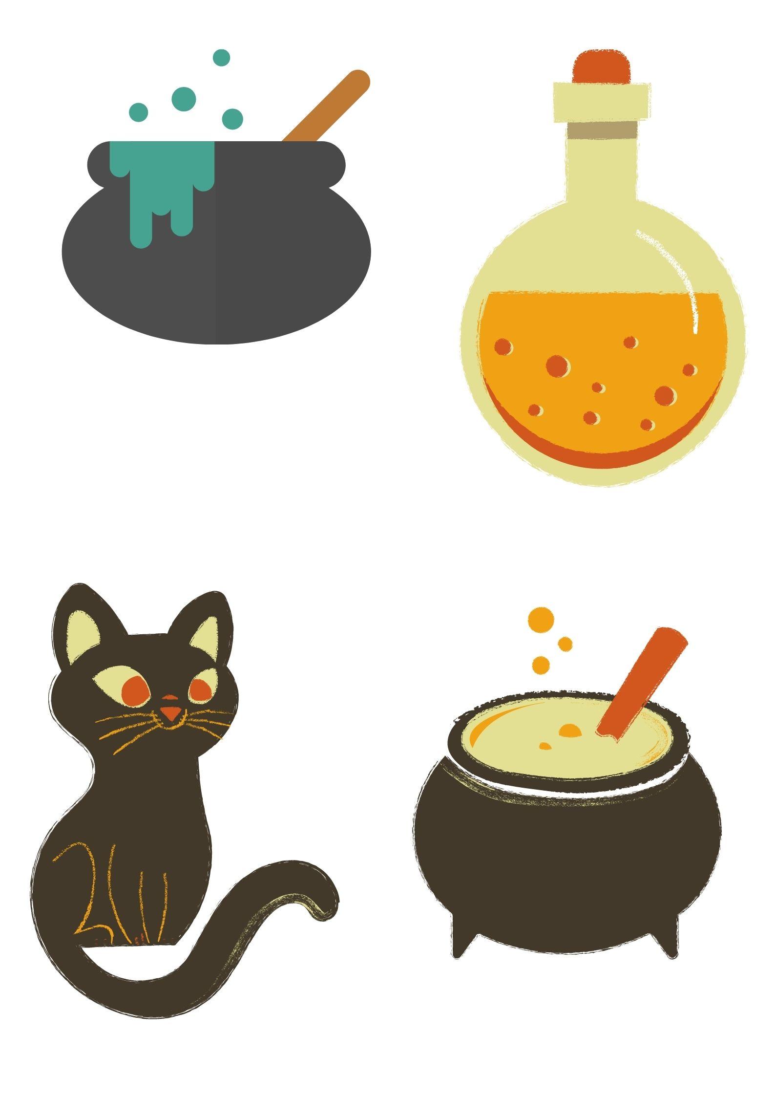 Sagome di disegni per bambini da stampare e ritagliare ad halloween: fantasma, zucca, cappello e gatto strega, casa dei fantasmi, Jack lanterna, pipistrello, pentoloni e pozioni.