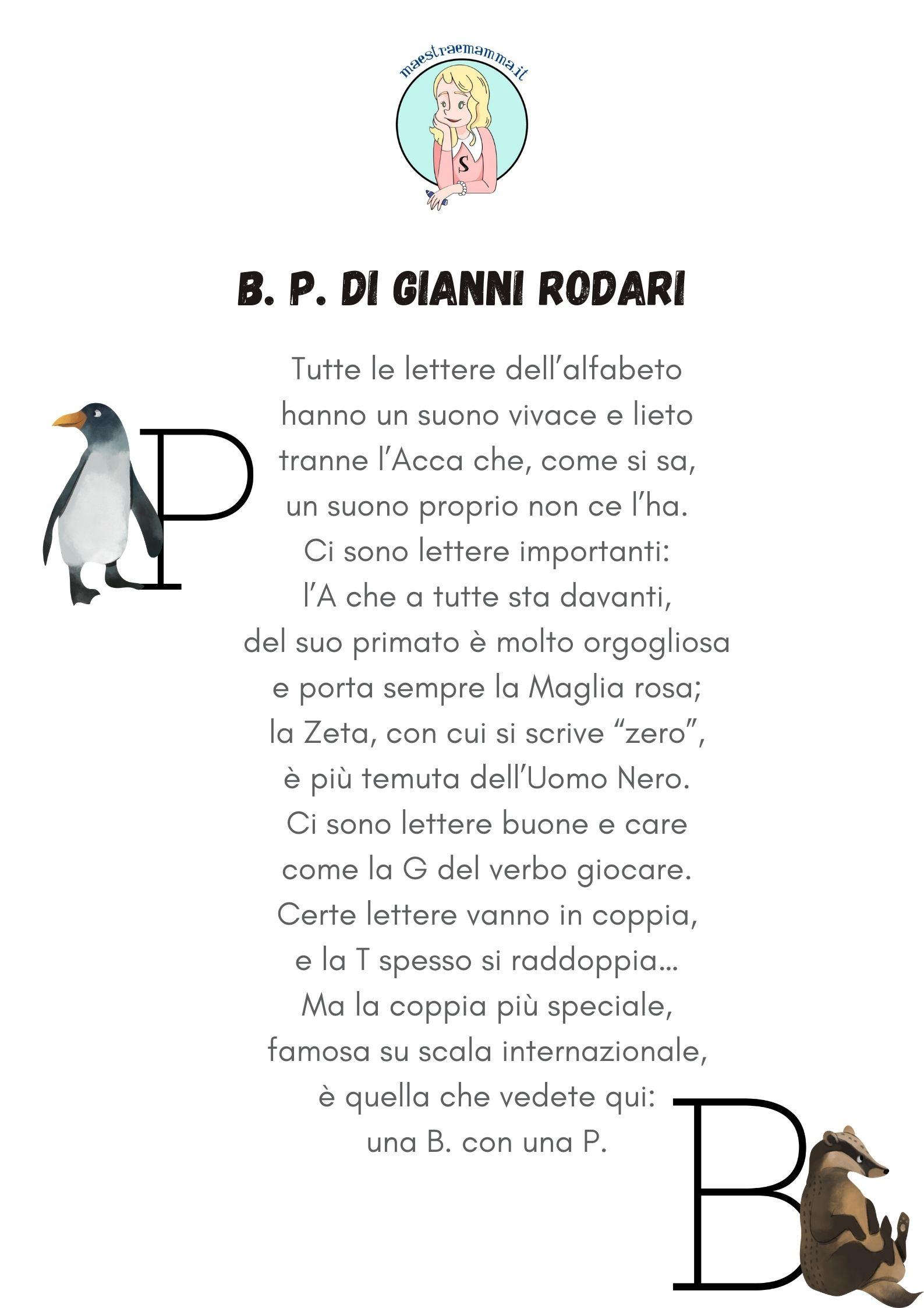 b p di gianni rodari filastrocca alfabeto