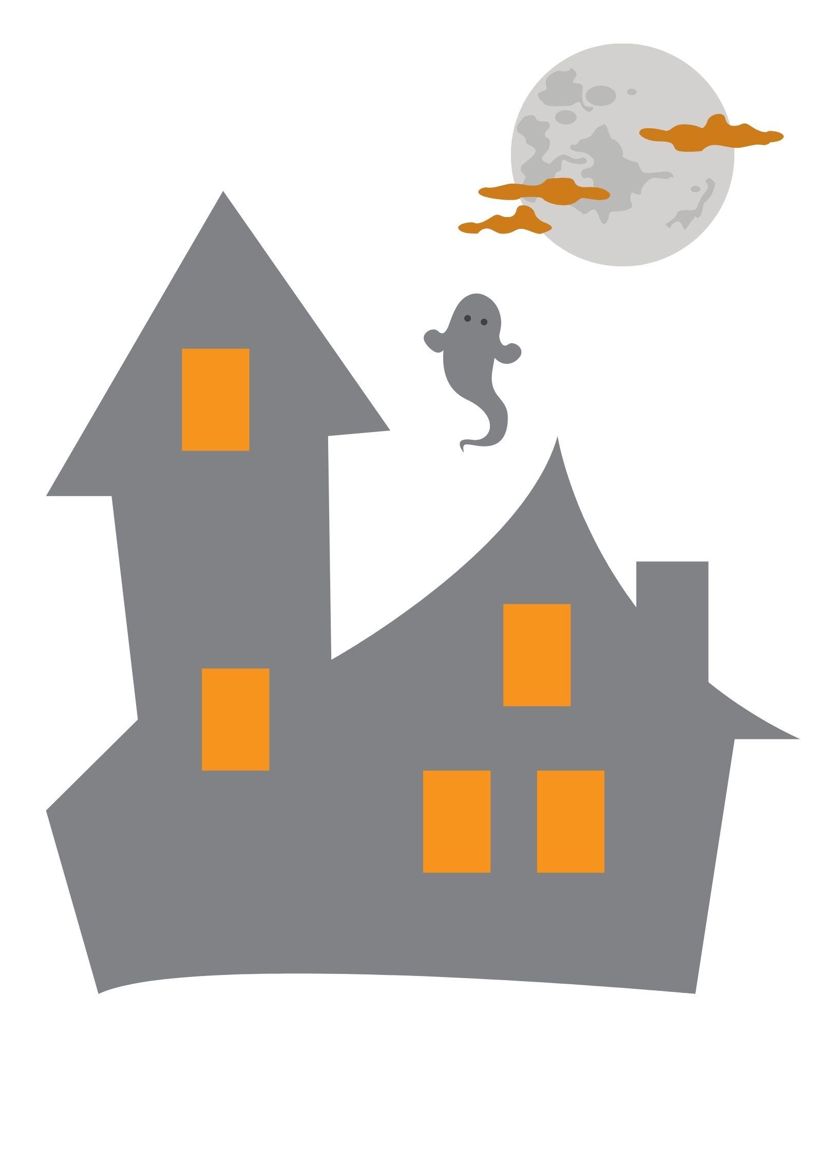 Disegni e sagome per Halloween per bambini casa dei fantasmi