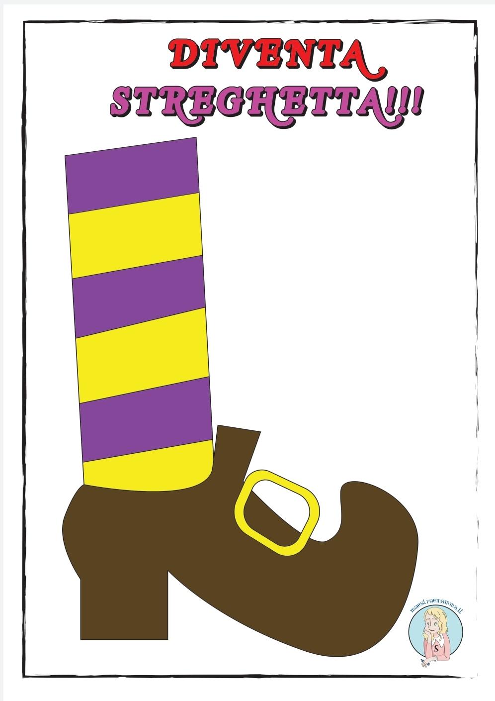 scarpa da strega a colori Disegni e sagome per Halloween per bambini