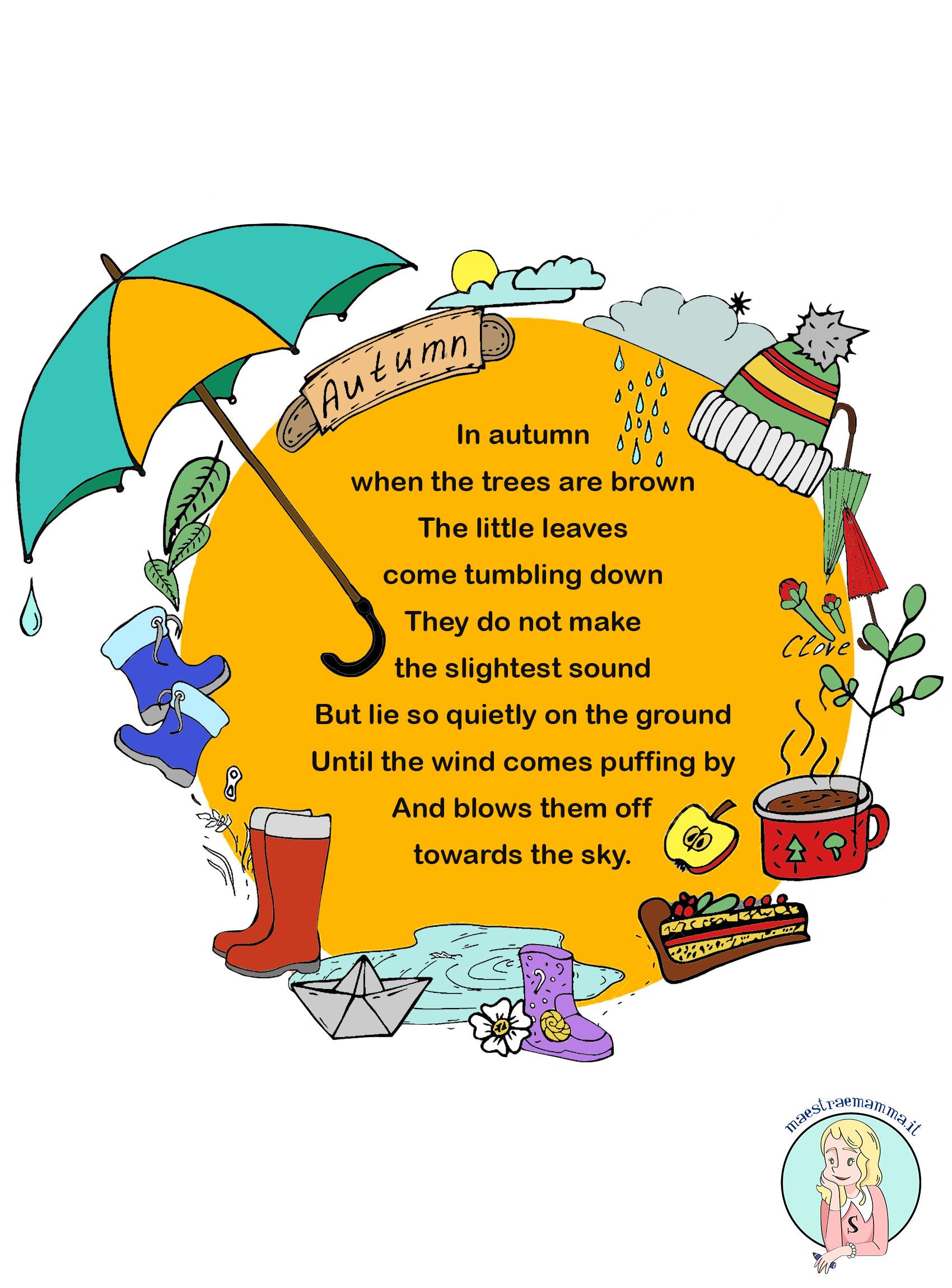 Poesie Di Natale In Inglese Per Bambini.Autumn Poesia Sull Autunno Per Bambini In Inglese Maestraemamma