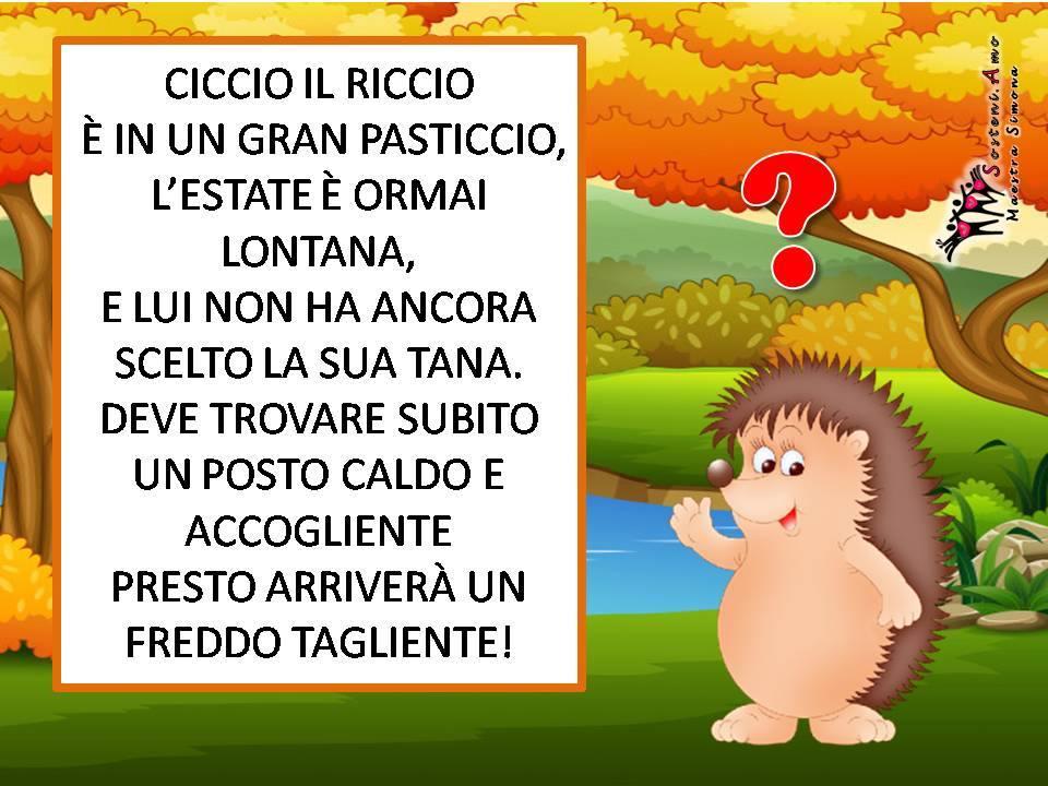 """""""Ciccio il riccio"""" scritta da Simona Chianura - storia autunnale con domande di comprensione."""