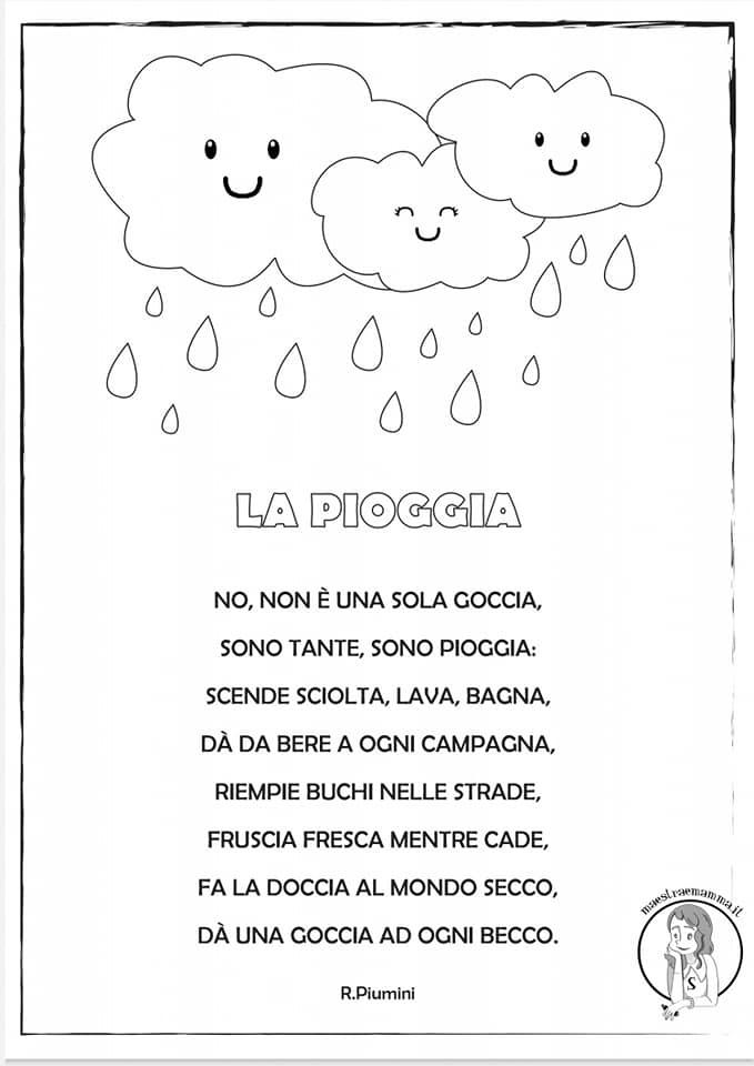 La pioggia di Roberto Piumini - poesia per autunno per bambini scuola