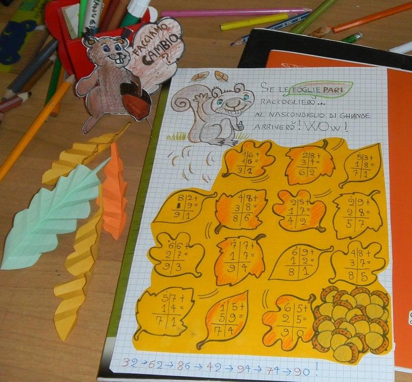 schede di matematica da stampare-Matematica creativa con ghiande e scoiattoli (schede matematica classe seconda)