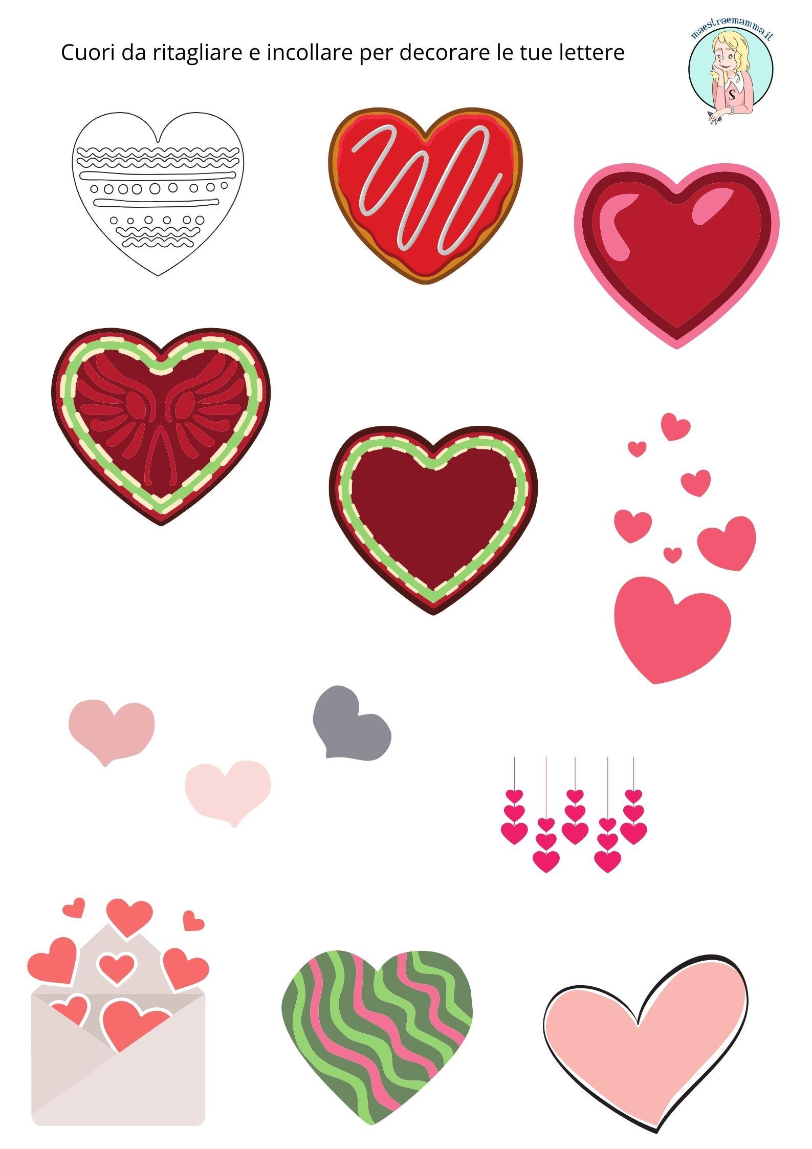 Cuori da ritagliare e incollare per decorare le tue lettere