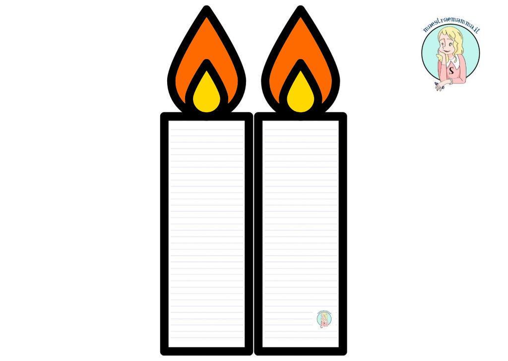 modello da scaricare per creare un biglietto di natale a forma di candele con le righe Biglietto di Natale facile con candela di carta