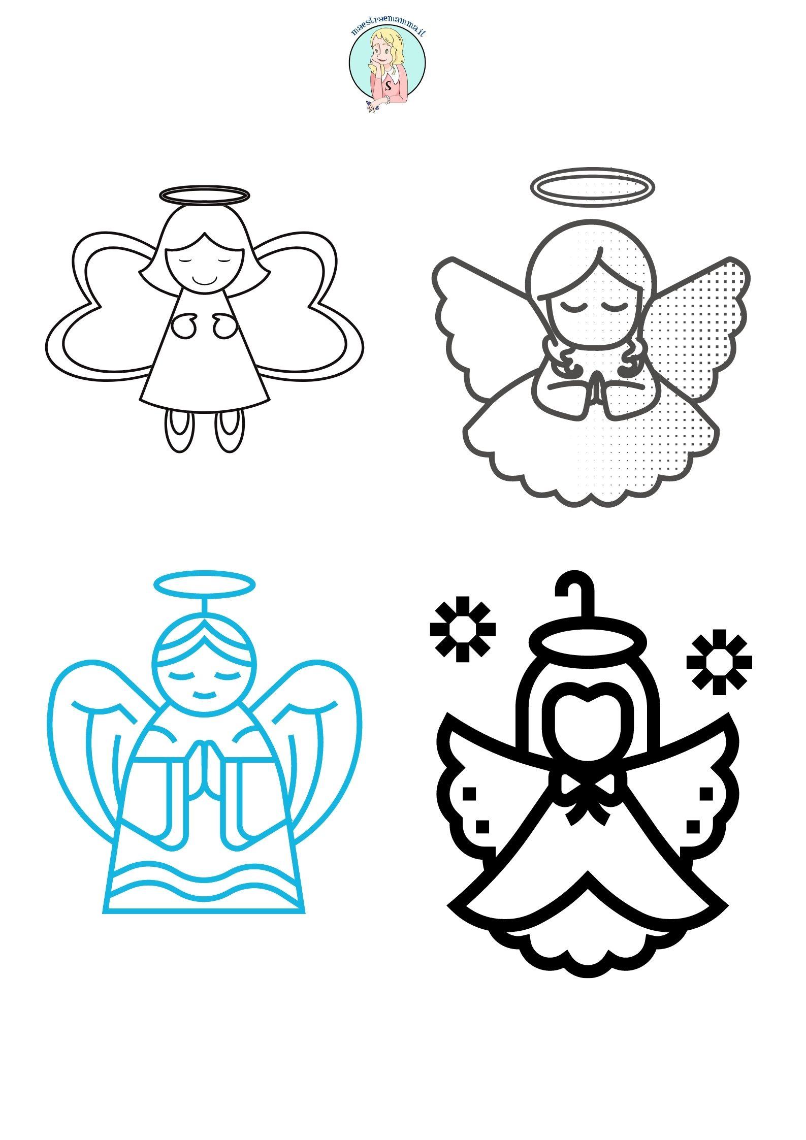 ANGELI DI NATALE DA COLORARE