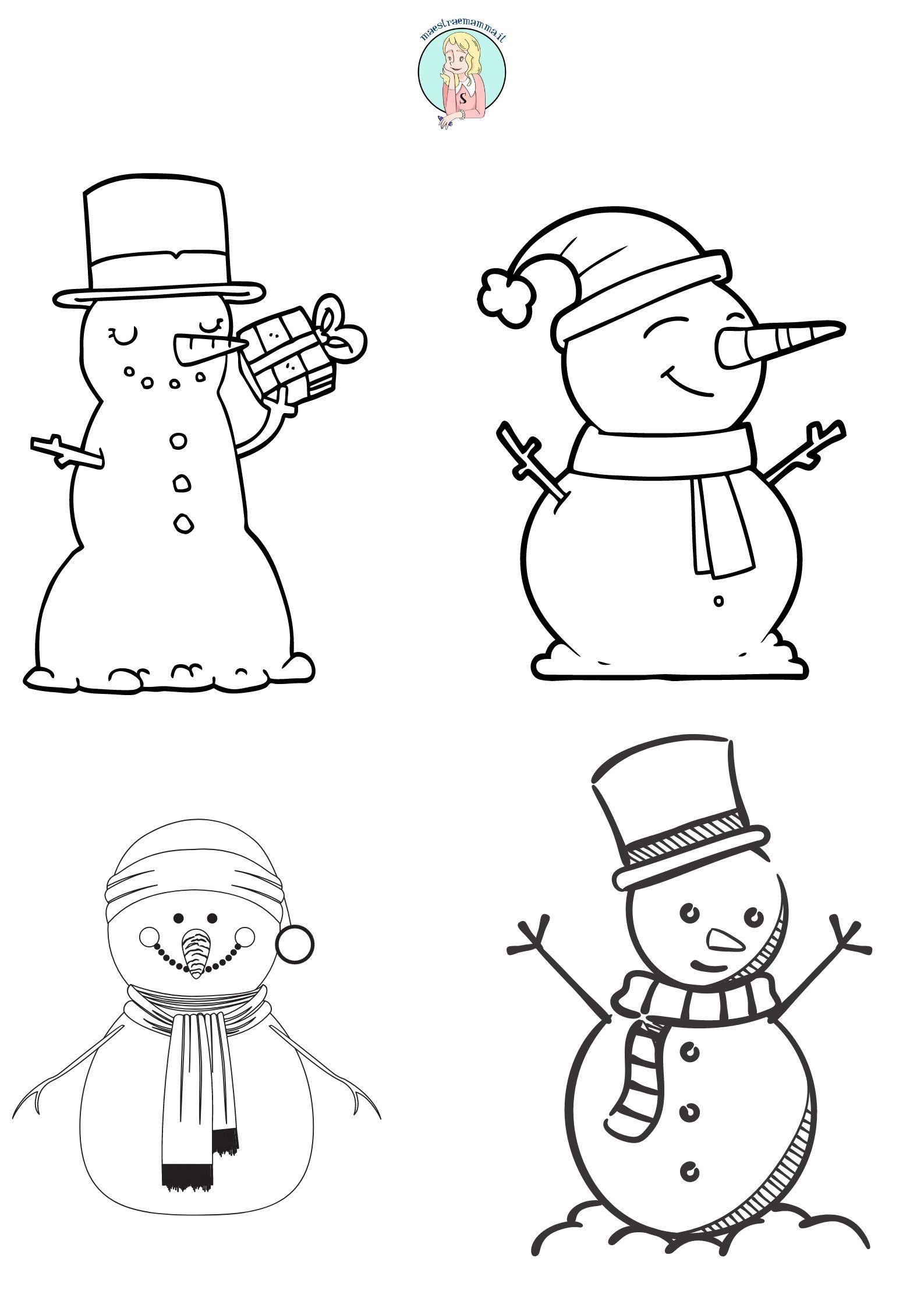 pupazzo di neve di natale Disegni di Natale per bambini da colorare