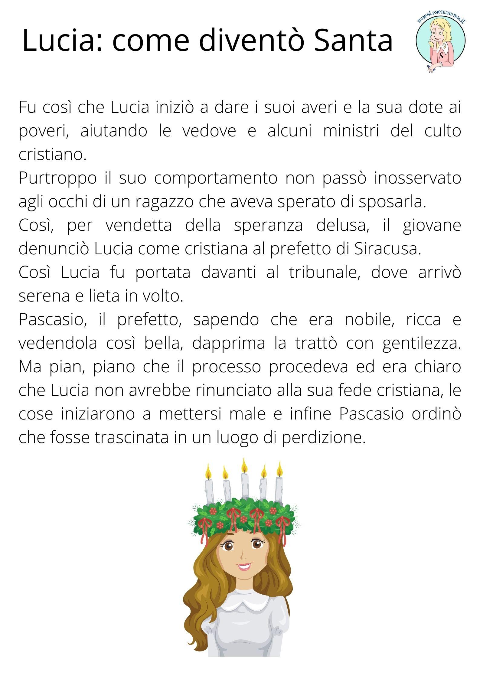 storia di santa lucia per bambini