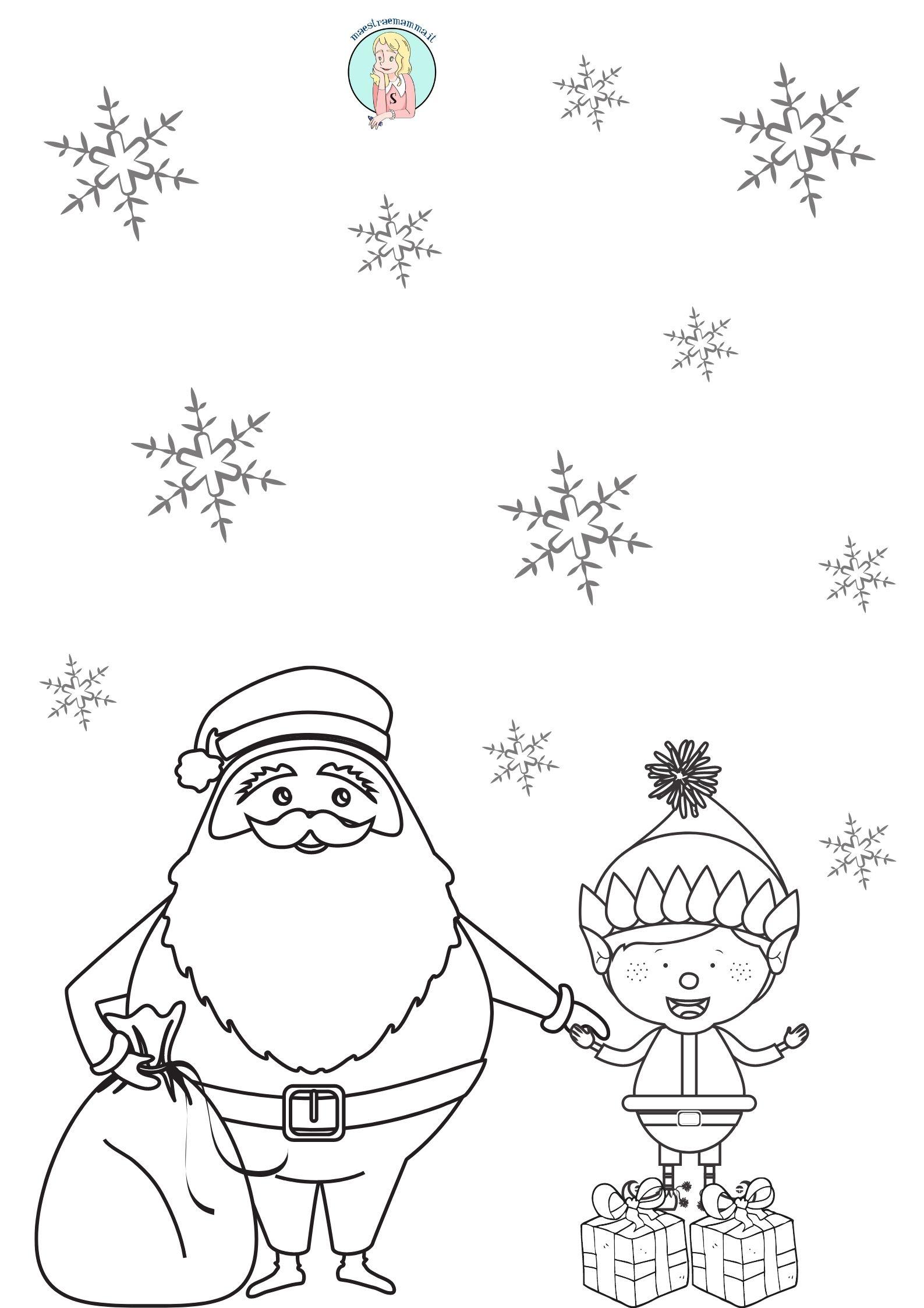babbo natale folletto disegni sagome per natale ritagliare incollare decorare in bianco e nero