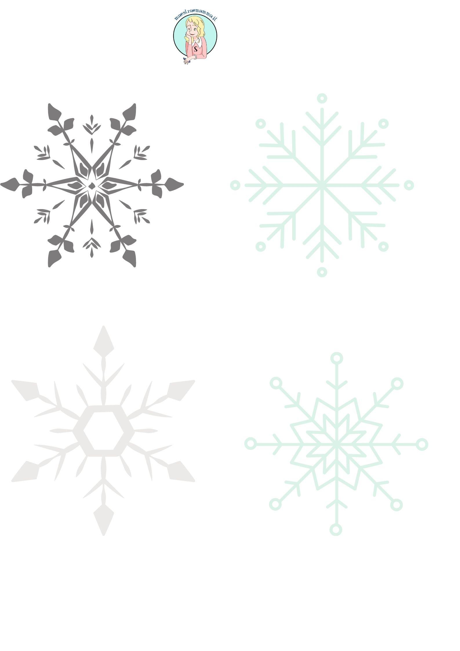 fiocchi di neve in bianco e nero Disegni di Natale da ricopiare stampare colorare appendere