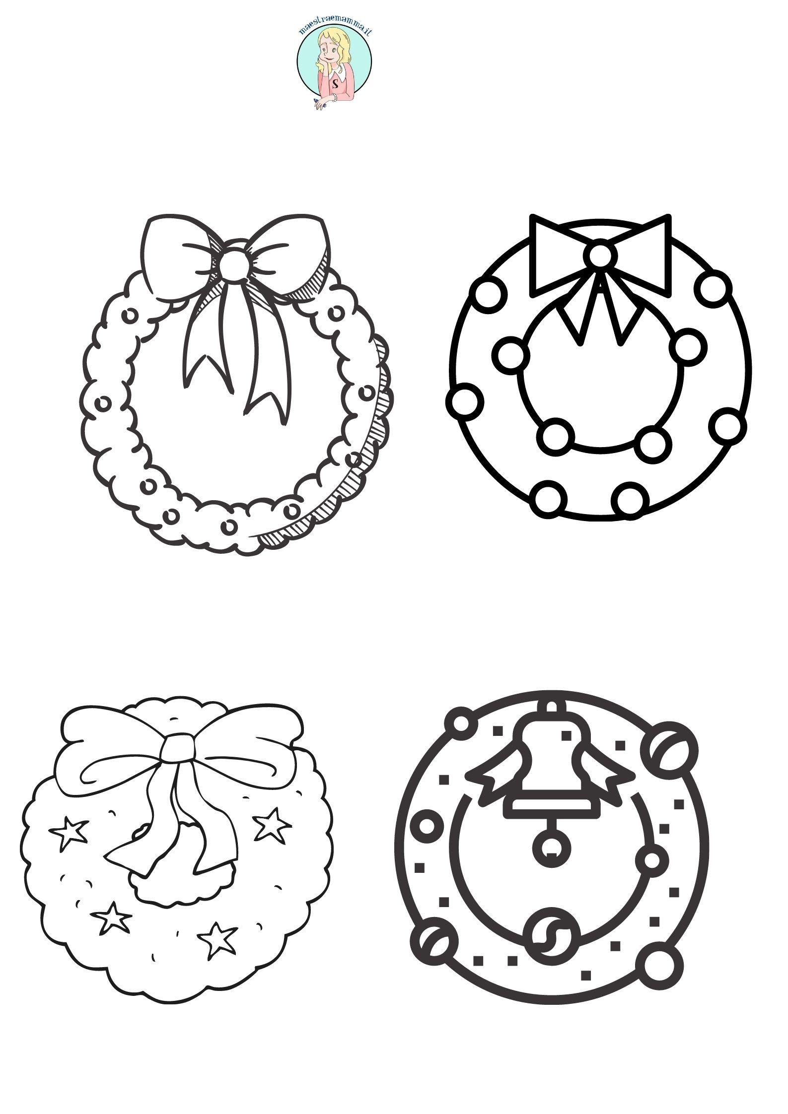 ghirlanda in bianco e nero Disegni di Natale da ricopiare stampare colorare appendere