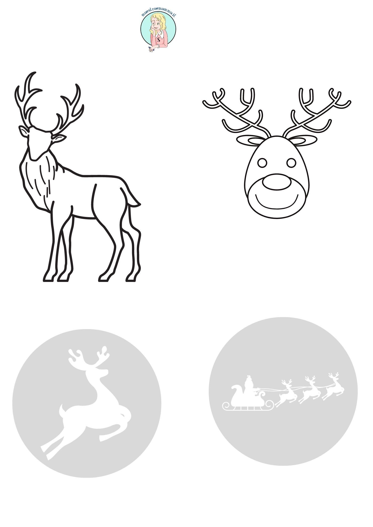 renna Disegni di Natale per bambini da colorare