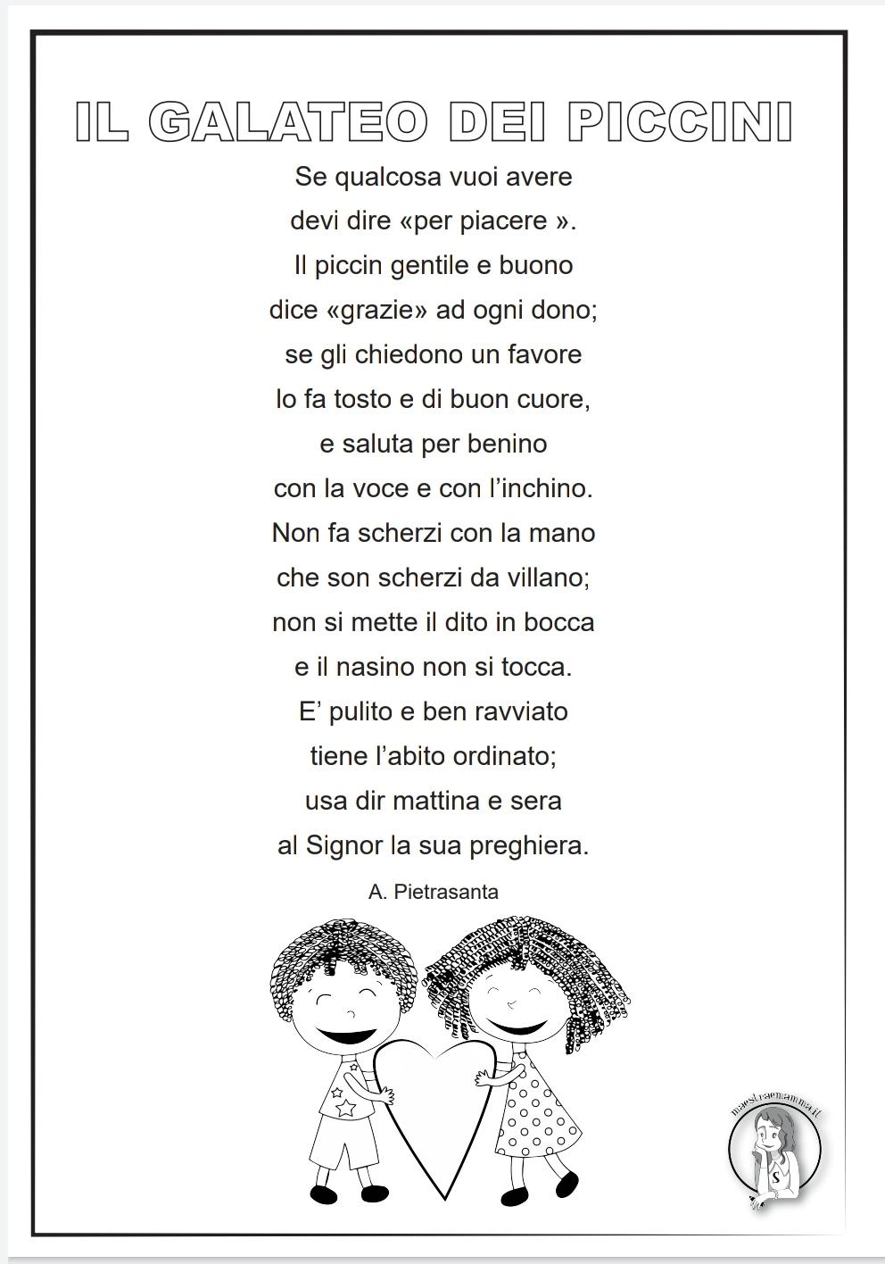 Il galateo dei piccini - poesia