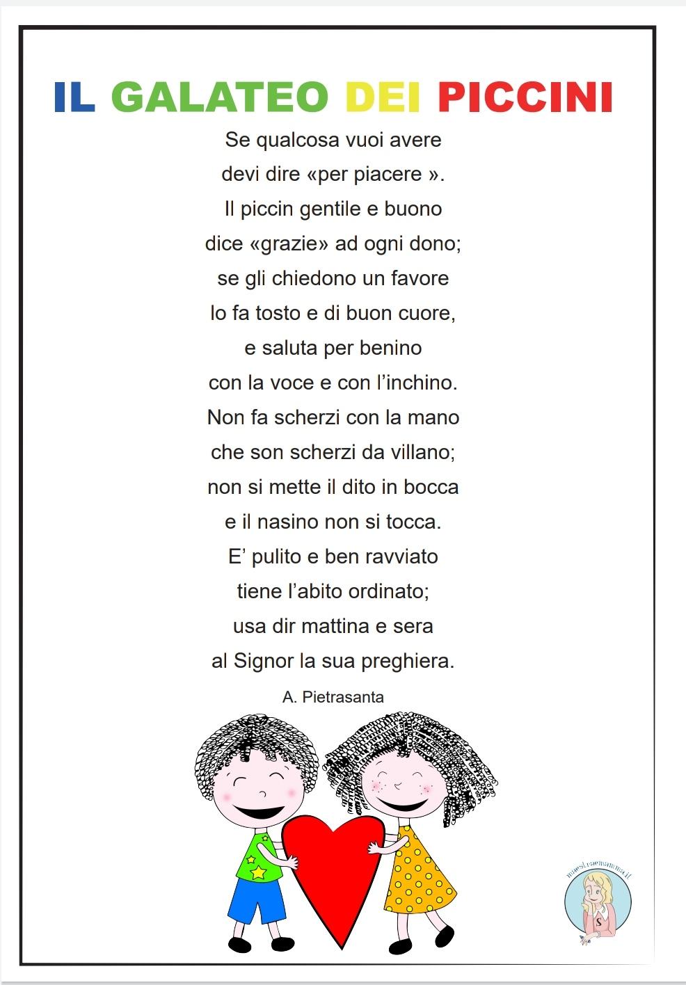Il galateo dei piccini – poesia sulla gentilezza scuola primaria