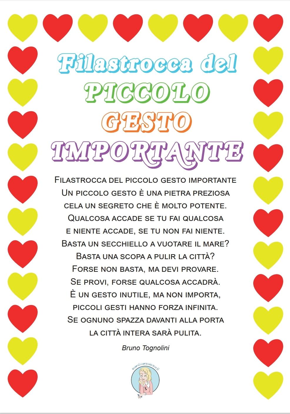 Filastrocca del piccolo gesto importante di Bruno Tognolini