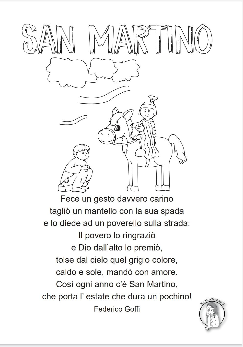poesia di san martino per gli alunni di scuola primaria di federico goffi da colorare in bianco e nero