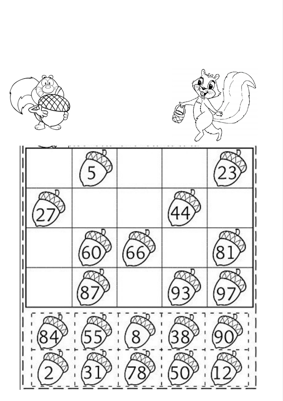 esercizi matematica seconda elementare da stampare Matematica creativa con ghiande e scoiattoli