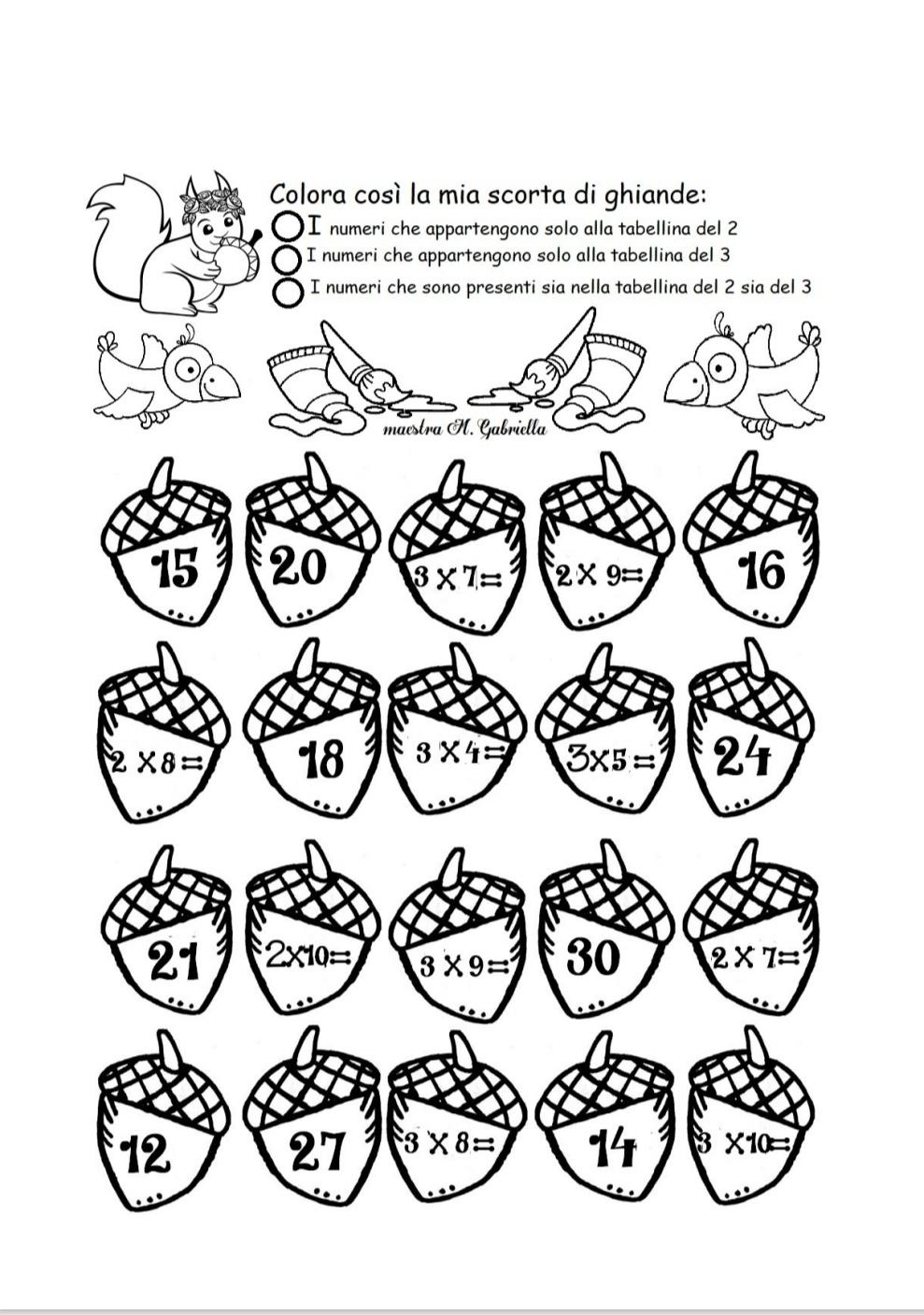 esercizi matematica seconda elementare da stampare-Matematica creativa con ghiande e scoiattoli
