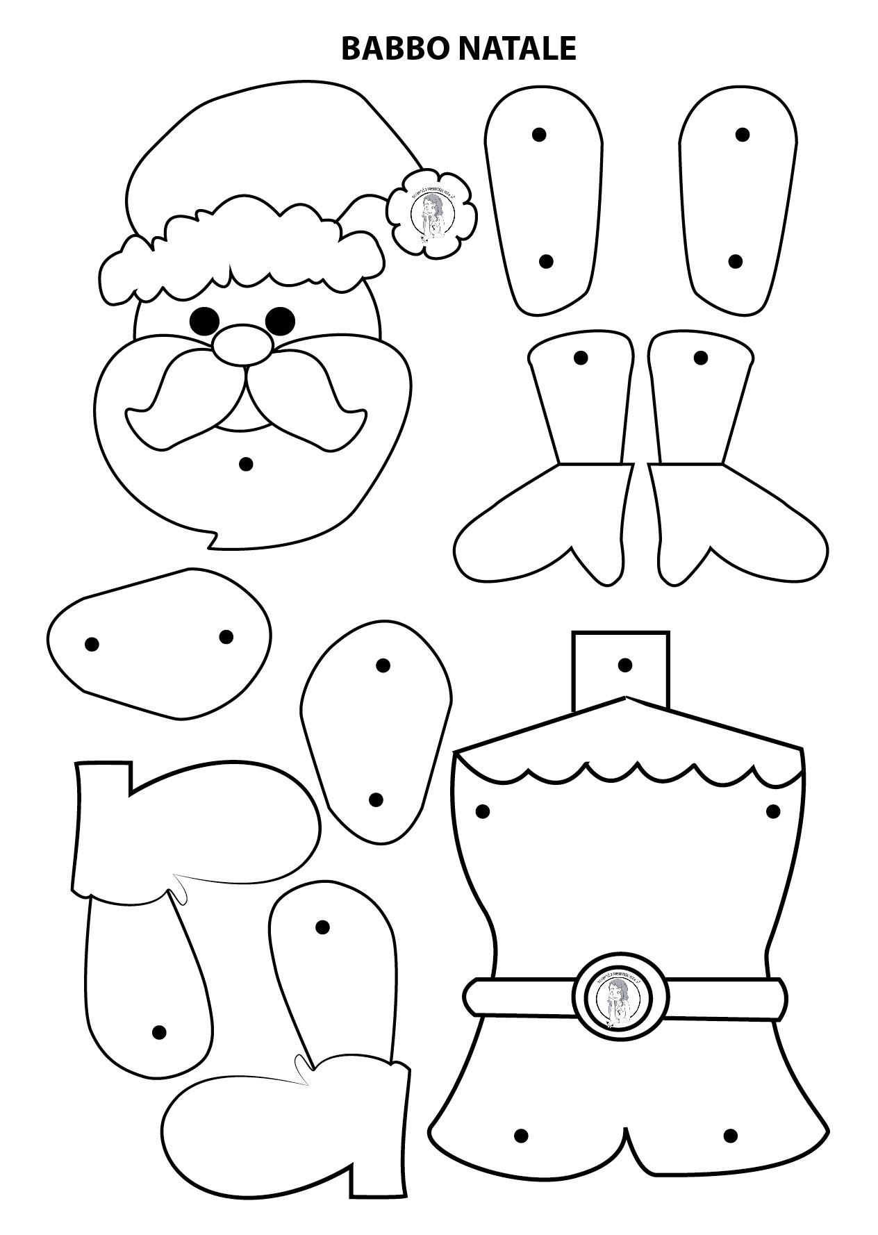 Babbo Natale da ritagliare, costruire e colorare   Maestraemamma risorse