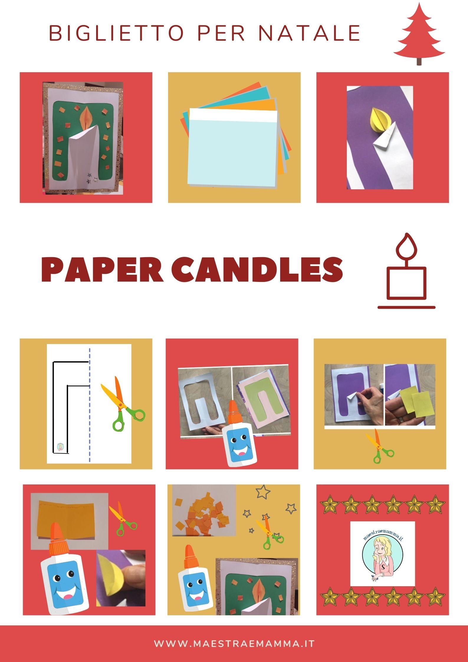 PAPER CANDLES biglietto bigliettino fai da te natale candela di carta