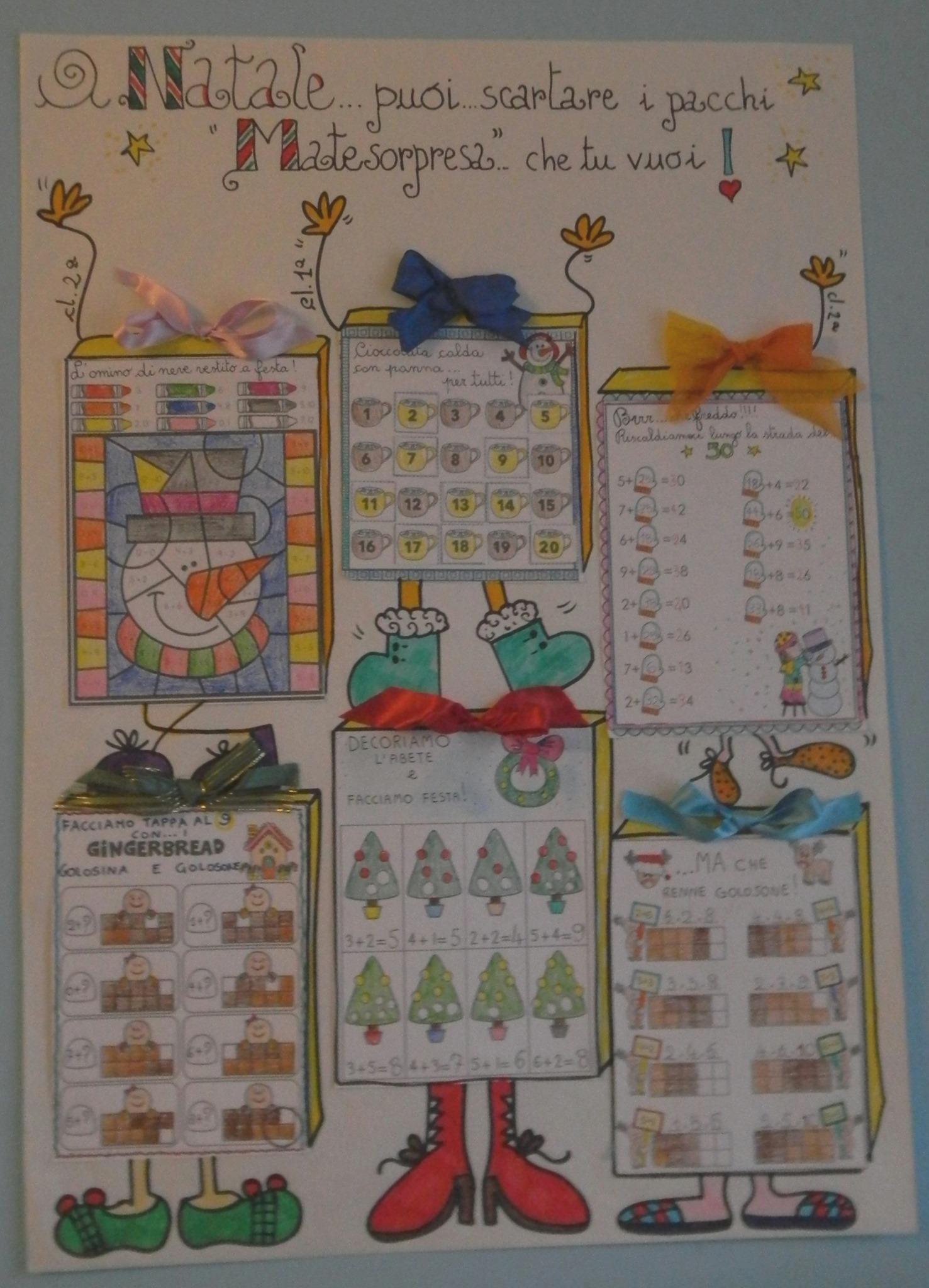 MateNatale – schede di Natale matematica classe prima, seconda, e terza