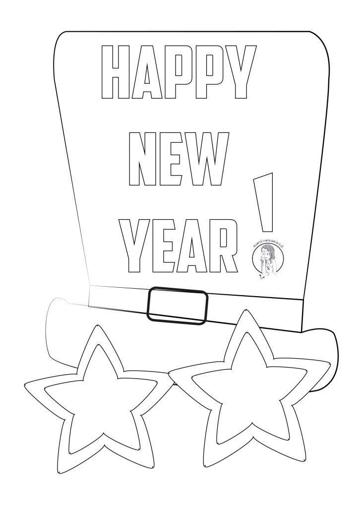 disegni capodanno bambini da colorare per bigliettino happy new year buon anno