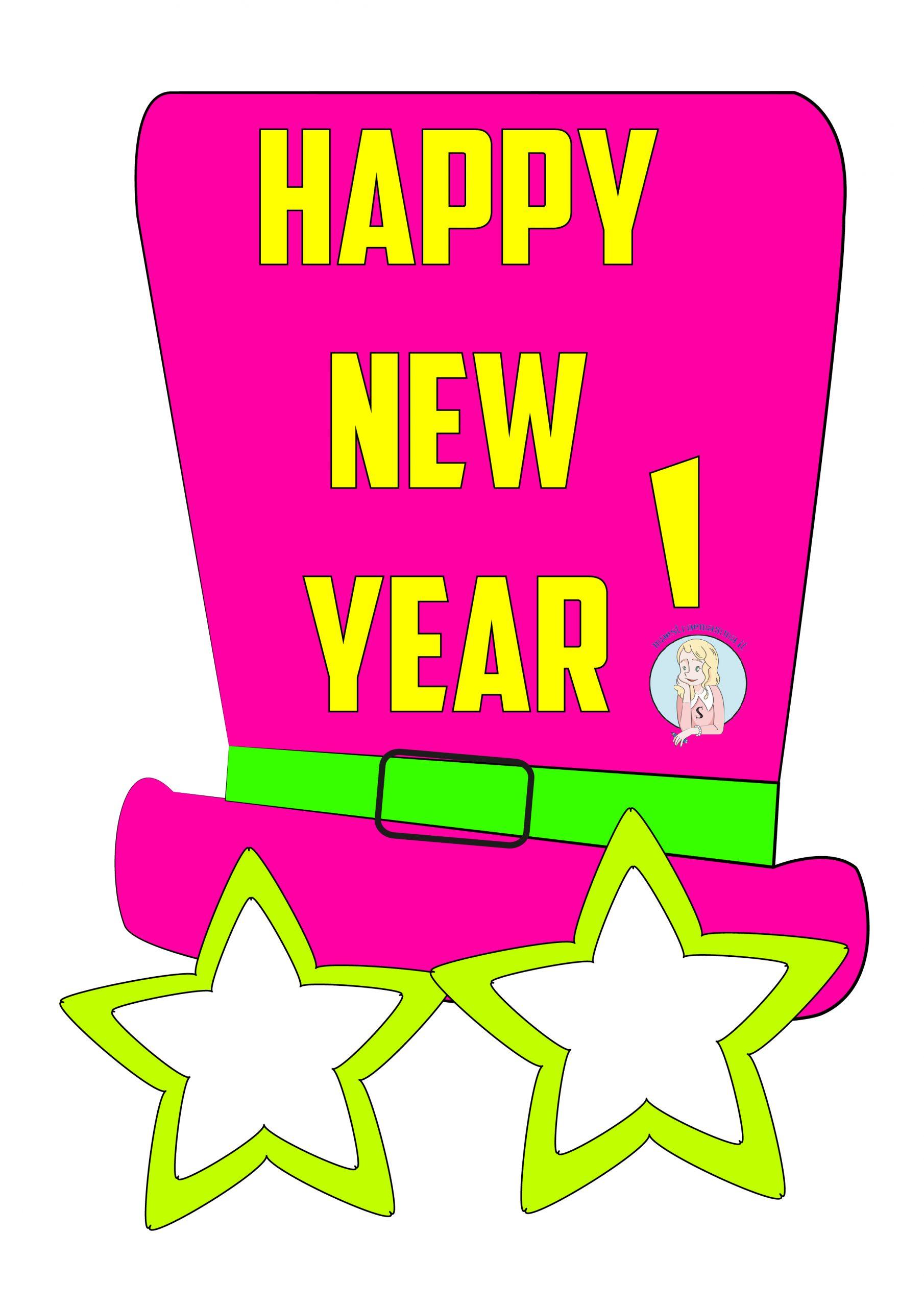"""Disegni di capodanno da colorare per bambini: """"Happy new year"""""""